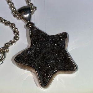 Starborn Druzy 925 Necklace with Black Quartz Star